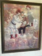 Robert Owen Signed Oil Painting Signed Clowns Heaven Creepy Angels