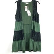 Nwt Entro Long Tiered Green Black Lace Vest Boho Victorian Steampunk Lagenlook L