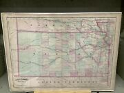 1873 Asher And Adamsandrsquo Map Of Kansas 17.25 X 24andrdquo Hand-colored