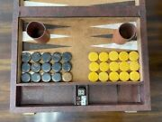 Vintage Crisloid Backgammon Set With Butterscotch Bakelite Chips And Game Pieces