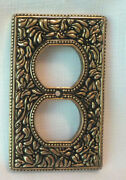 Vicenza San Michele Antique Brass Double Plug Outlet Switch Plate Cover Wp7001
