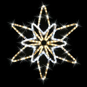 Christmas Star Decorations Indoor Outdoor Window Art Twinkling Led White Stars