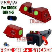 Cross Armory Red Standard Height Sights For Glok 17 19 22 23 26 27 31 Glow Ss