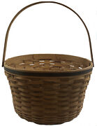 Large 2007 Longaberger Handmade Round Basket Signed Made In Usa 27 Across 2and0393