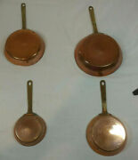 Set 4 Copper Frying Pans Small Brass Handles Old Antique Farmhouse Chic