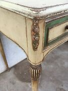 Antique Sheraton Desk Shabby Carved Painted Roses