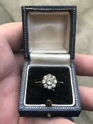 Antique 9ct Gold Paste Flower Cluster Ring Size P 1/2 With Box Freepost Uk
