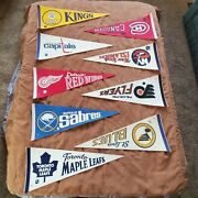 Nhl Lot Of 9 Vintage Circa 1970's And 1980's Teams Logo Full Size Hockey Pennants