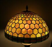 Fine Colorful Antique Stained Glass Lamp Shade Purple And Green C. 1910