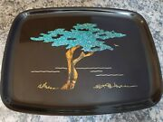 Vintage Couroc Of Monterey Cypress Tree Tray Wood Stone Inlay Signed Sfb Morse