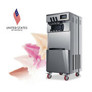 Pro 20l/h Stand Commercial 3 Flavors Ice Cream Machine Stainless Steel Automatic