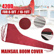 Main Sail Cover For 8-9 Ft / 10-11 Ft Boom Sail Waterproof 420d Oxford Burgundy