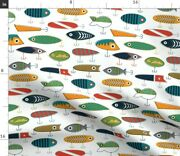 White Lures Nautical Boat Baby Boy Nursery Spoonflower Fabric By The Yard