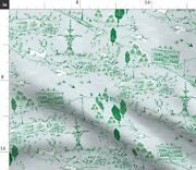 Emerald Toile Park Vintage Garden Blue Green Spoonflower Fabric By The Yard
