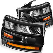 Fits Chevy Silverado 2007-2013 Front Led Headlights Assembly W/ Reflective Bowl