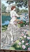 Cross Stitch Lady With Umbrella Picking Pick Roses 22 X 14 Total Canas Size