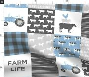 Farm Life Blue Grey Plaid Tractor Pig Cow Spoonflower Fabric By The Yard