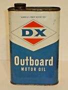 Vintage Dx Outboard Motor Oil Quart Tin / Metal Oil Can Dx Sunray Oil Co.