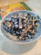 Vintage 50and039s Periwinkle Glass Rosary Lot Of 3 Rosaries Roman Catholic Special