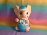 Vintage 1960and039s Sanitoy Rubber Elephant Squeak Toy Blue Overalls And Baseball Cap