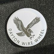 White And Chrome Dayton Wire Wheel Chips Emblems Decals Set Of 4 Size 2.25in.