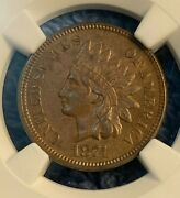 1874 Indian Head Cent Penny Ngc Au 58 Bn Almost Uncirculated Certified