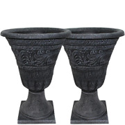 Composite Urn Planter Pack Tumbled Scroll Weathered Resin Black 16 2-pack