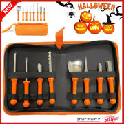 8pcs Stainless Steel Halloween Pumpkin Carving Tool With Carrying Case Knife Set