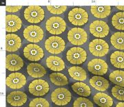 Floral Retro Mid Century Large Scale Gold Herb Spoonflower Fabric By The Yard