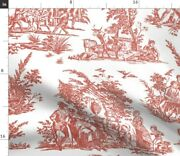 Toile Turkey Red White French Romantic Spoonflower Fabric By The Yard