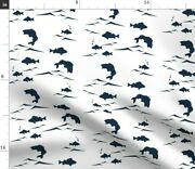 Fish Ocean Lake Fishing Camping Bass Lakehouse Spoonflower Fabric By The Yard