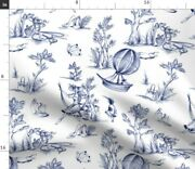 Vintage Blue Victorian Nursery Toile Girly Toile Spoonflower Fabric By The Yard