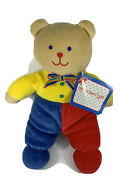 """Vintage Eden Gift Teddy Bear 10"""" Primary Colors Washable Baby Toy Plush Nwt"""