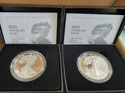 Us Mint American Eagle 2021 One Ounce Silver Proof 2 Coins