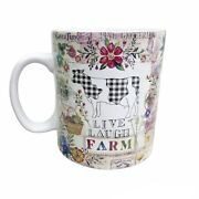 Live Laugh Farm Mug By Pooch And Sweetheart Garden Flowers Farmhouse Cow Cottage