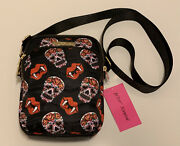 Nwt Betsey Johnson Quilted Crossbody Halloween Purse Red Lips Fangs Sugar Skull
