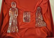 Waterford Crystal Nativity Set Holy Family 3 Piece Set In Original Box