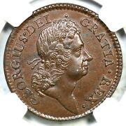 1723 Ngc Ms 62 Bn Wood's Hibernia Half Penny Colonial Copper Coin 1/2p