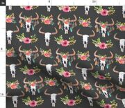 Flower Bull Skulls Floral Skull Cow Feather Spoonflower Fabric By The Yard