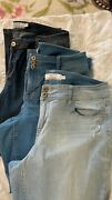 Lot Of 3 Torrid Women's Plus Jeans Luxe Slim Boot, Flare, And Flip Flop 20r Euc