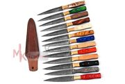 Lot Of 13 Hand Forged Damascus Steel Dagger Throwing Boot Knife And Leather Sheath