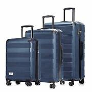 Luggage Set 3 Piece - Lightweight With Usb Port Hardside Carry On Navy