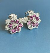 18ct White Gold Diamond Ruby Earrings 1ct Large Rose Flower Studs Leverback 12g