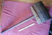Giant Mallet Wooden Vintage Circus Tent Stake Carnival Game Strong Man Hammer Xl