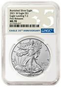 2021 W Burnished American Silver Eagle Type 2 - Ngc Ms70 Fr
