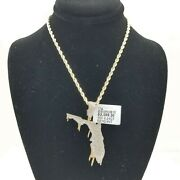 10k Yellow Gold Diamond Florida Map Charm With Rope Chain18 20 22 24 26 Inch 3mm