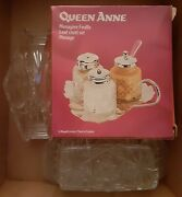 New Queen Anne Silver Plated 4 Pc Cruet Set/ Crystal Napkin Holder / Butter Tray