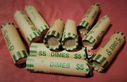 1 Roll Of 50 90 Silver Dimes 5 Face Value Average Circulation