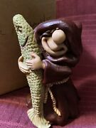 Friar Folk By Abby Press...monk Dk Red Robe Carrying A Fish...new In Box