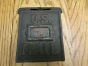 Vintage Us Mail And Lift Up Drop Slot Cast Iron Metal Coin Bank Unrestored Orig